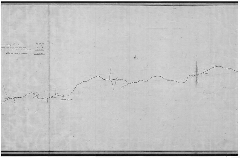 1823 Map of the Road from Salem to Fayetteville by Randolph and Moore County Courthouses by Hamilton Fulton and Robert H.B. Brazier (This sheet details portions from Richland Creek to Cumberland County line)